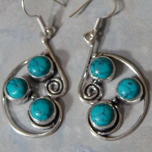 Tribal Santa Rosa Turquoise Silver Earrings